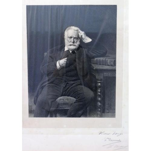 405 - Leopold Massard (French 1812-1889) Portrait of Victor Hugo after Lèon Bonnat (1833-1922) Etching Sig...