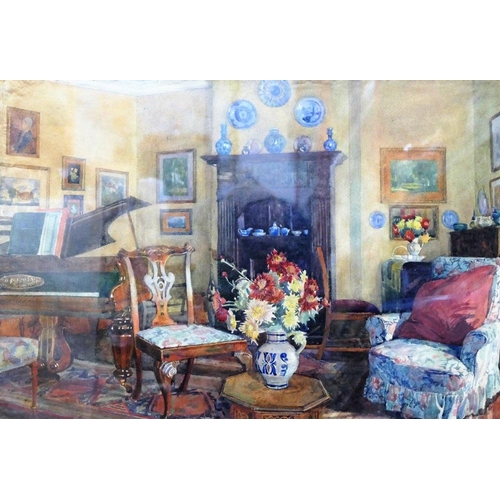 408 - Attributed to Dorothy Paton (20th century British) Interior scene Watercolour Unsigned 38cm x 56cm F...