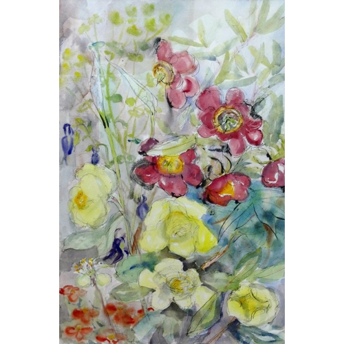 409 - Euphen Alexander (b.1917) Studies of flowers Pair of watercolours and ink Each signed 'Euphen' 55cm ...