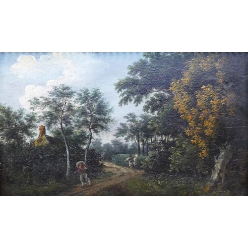 411 - Early 19th Century Rural scene with figures on a track Oil on board  Indistinctly signed and dated l...