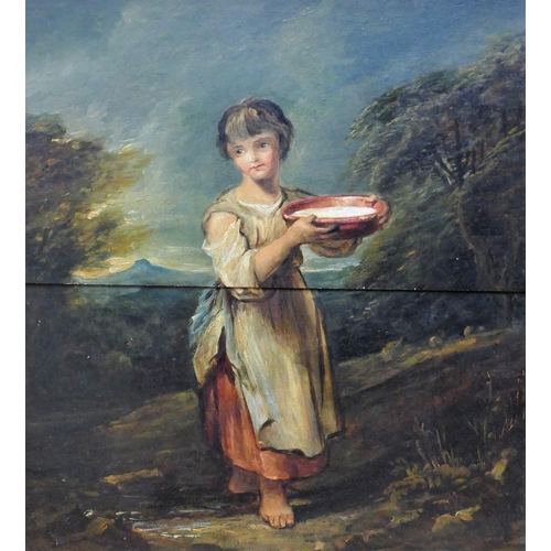 413 - 19th Century British Portrait of a peasant girl Oil on panel 40.5cm x 36cm Housed in ornate gilt fra...