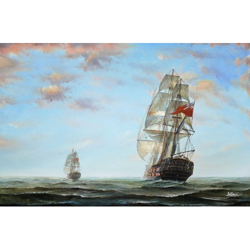415 - 20th Century Seascape with two ships of the line flying the British Red Ensign Oil on canvas Signed ...