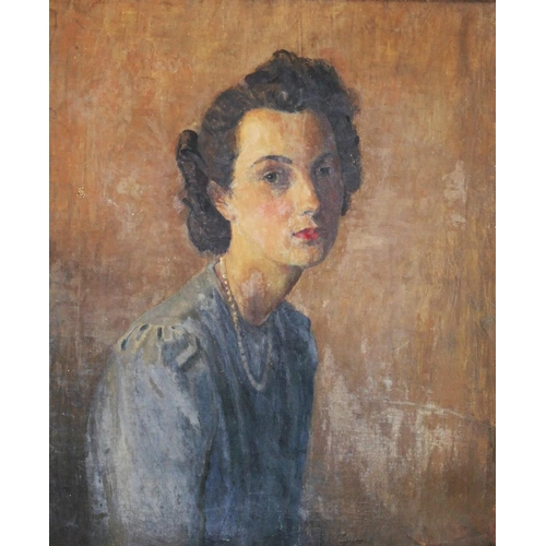 417 - Attributed to Dorothy Paton (20th century British) Portrait of artists niece 'Margaret' Oil on canva...