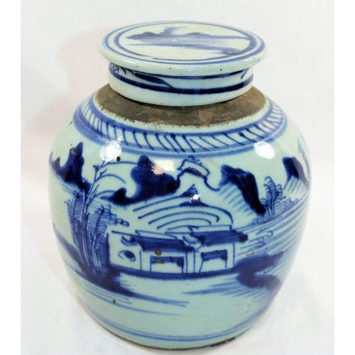 42 - A 19th century Chinese blue and white ginger jar and lid, 17.5cm high...