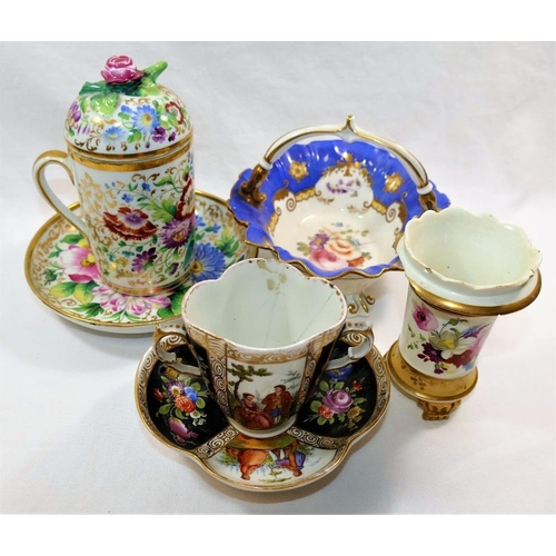 5 - A 19th century Continental porcelain chocolate cup and cover and saucer, cup and cover 15cm high, a ...