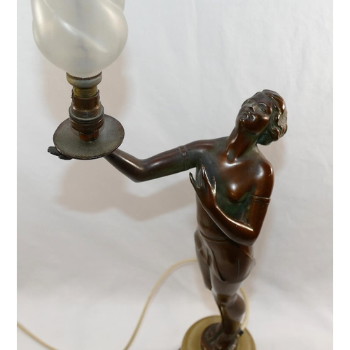 56 - An Art Deco bronzed spelter lamp in the form of a semi-naked lady holding aloft the light in the man...