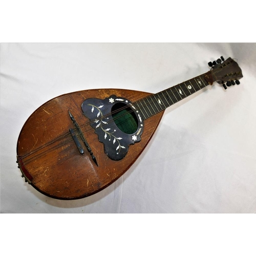 59 - An Italian rosewood and boxwood strung mandolin, with tortoiseshell, mother of pearl and brass decor...