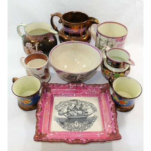 6 - A large 19th century Sunderland pink lustreware mug transfer decorated with a sailing ship entitled ...