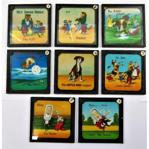 66 - A set of eight coloured 3 1/4'' lantern slides, from the Junior Lecturer's Series, entitled 'Hey Did...