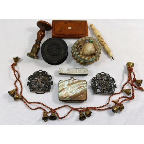 69 - A Georgian rectangular burr wood tortoiseshell lined snuff box, a 19th century turned bog oak circul...