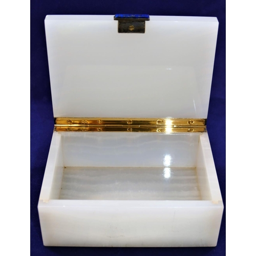 75 - An Art Deco silver gilt mounted marble and lapis lazuli hinged box, London 1937 by Henry Griffith an...