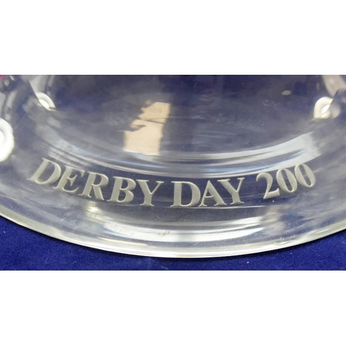 84 - A limited edition Orrefors pedestal glass bowl, entitled 'Derby Day 200', acid etched with horses an...