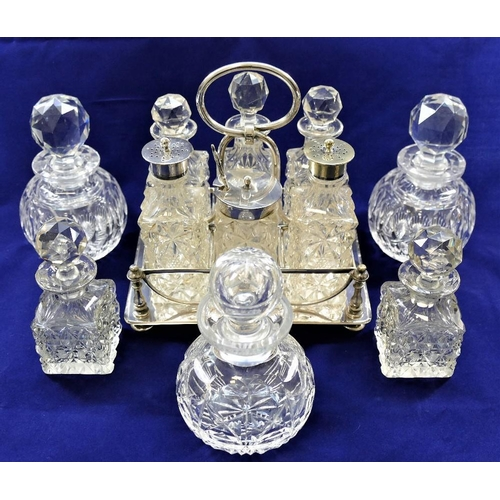 86 - A large cut glass decanter, with silver collar, London 1980, 24cm high, a rectangular silver plated ...