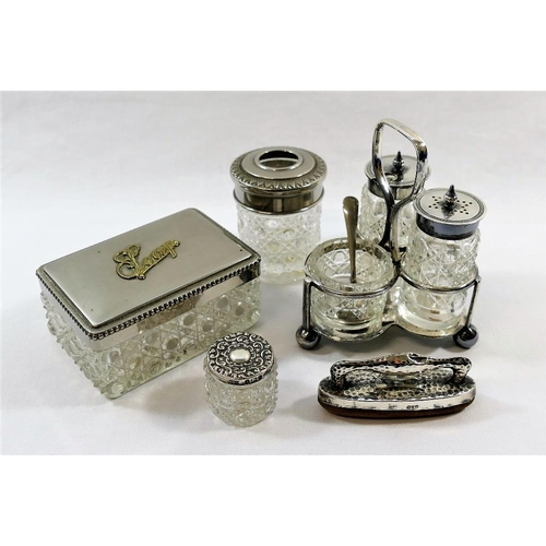 87 - A small silver topped cut glass dressing table jar, Birmingham 1901, a silver mounted nail buffer, C...