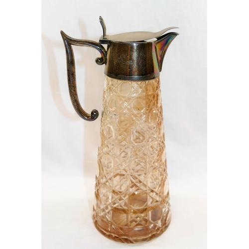 90 - An Edwardian silver mounted cut glass claret jug, London 1909 by Gresham Barber and Co., of tapering...