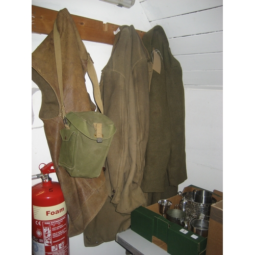 1 - GREEN MILITARY WOOL TRENCH COAT^ GREEN WOOL COAT^ LEATHER & WOOL JERKIN ETC....