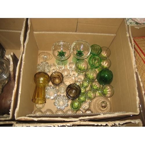 14 - 8 CHAMPAGNE FLUTES^ 4 BEER TANKARDS^ OTHER GLASSWARE^ CHINA ETC.  CONTENTS OF 4 BOXES...