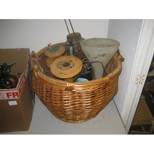 16 - LARGE RATTAN CREEL BASKET AND CONTENTS TO INCLUDE LAMP^ WATER PUMP^ CLOCK ETC....