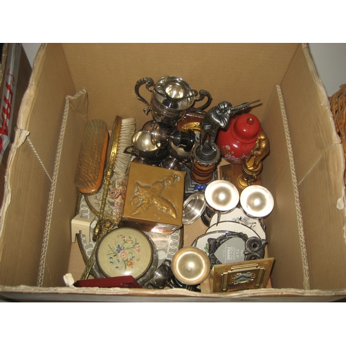 17 - BOX TO INCLUDE TROPHIES^ DRESSING TABLE SET AND AN ARTS & CRAFTS STYLE HAMMERED METAL BOX...