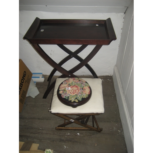 25 - MARKS AND SPENCER BUTLERS TRAY ON STAND^ MODERN NEEDLEWORK FOOTSTOOL AND 20TH CENTURY ADJUSTABLE STO...