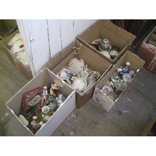 26 - SHELLS^ BLUE & WHITE CHINA^ ORIENTAL CHINA^ FIGURINES^ MINIATURE VASES ETC. (CONTENTS OF 4 BOXES)...