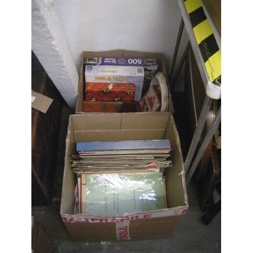 29 - VARIOUS SHEET MUSIC^ RECORDS^ GAMES ETC.  (2 BOXES)...