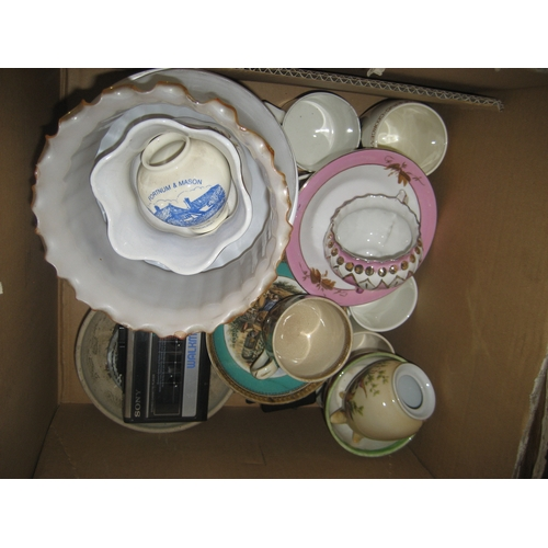 32 - QUANTITY OF KITCHEN AND HOUSEHOLD WARE TO INCLUDE JARDINIERES^ COFFEE POT^ ALARM CLOCK^ STRAW DOLLS ...