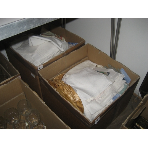 4 - LARGE COLLECTION OF LINEN AND LACE ETC. TO INCLUDE TABLECLOTHS^ HANDKERCHIEFS ETC. ( 2 BOXES)...