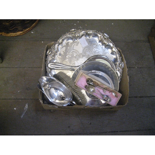 41 - SILVER PLATE SALVER WITH ENGRAVED AND EMBOSSED VINE DECORATION^ 2 PLATED SAUCE BOATS^ PLATED DRESSIN...