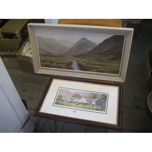 42 - JOHN WOOD LIMITED EDITION PRINT ~MATHERDALE~ AND AN OIL ON CANVAS OF AN UPLAND LANDSCAPE (2)...