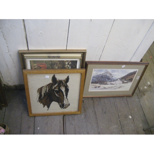 44 - JUDY BOYES LIMITED EDITION PRINT ~LATE AFTERNOON SUNLIGHT LANGDDALE~^ OAK FRAMED HORSE TAPESTRY ETC....