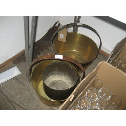 6 - BRASS JAM PAN^ ANOTHER AND A BRASS JARDINIERE (3)...