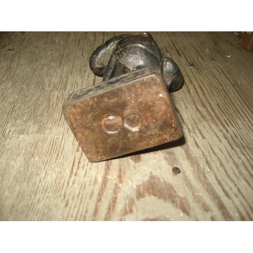18 - BOX TO INCLUDE A PEATWOOD IRISH CROSS^ 2 FLAT IRONS^ BRONZE STYLE FIGURE^ 3 PEWTER FIGURES^ ORIENTAL...