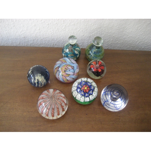 30E - 8 GLASS PAPERWEIGHTS. GOOD CONDITION....