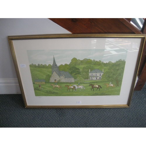 30F - A COLOUR LITHOGRAPH BY VINCENT HADDELSEY 23/26. 79CM X 55CM FRAMED....