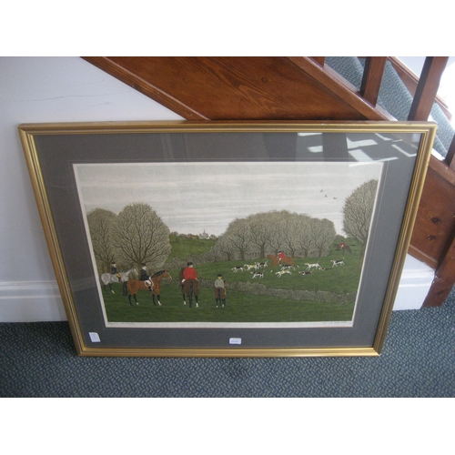 30H - A LITHOGRAPH BY VINCENT HADDELSEY 85CM X 68CM FRAMED^ HUNTING SCENE....
