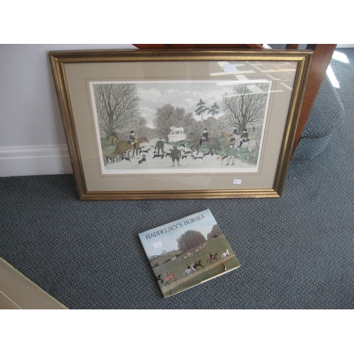 30I - A COLOUR LITHOGRAPH BY VINCENT HADDELSEY. 84CM X 62CM FRAMED. TOGETHER WITH A BOOK ON THE ARTIST. (2...