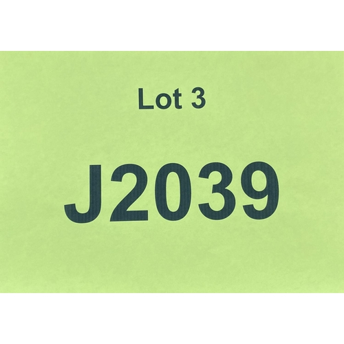 3 - J2039 - a four digit Jersey registration mark (purchaser must be ordinarily resident in Jersey C.I.)...