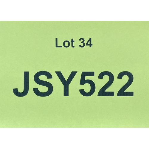34 - JSY522 - a three digit Jersey JSY registration mark (purchaser must be ordinarily resident in Jersey...