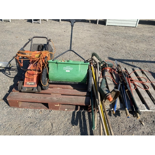 49 - A Flymo electric lawn mower, a Levington multi spreader, a Black & Decker strimmer and assorted hand...