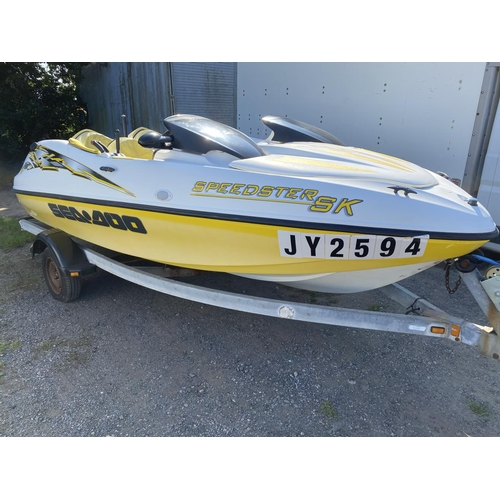 34 - A Sea Doo Speedster SK Twin Rotax jet boat JY594 and trailer...