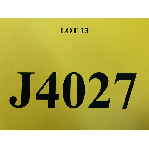 13 - J4027 - a four digit Jersey registration mark (purchaser must be ordinarily resident in Jersey C.I.)