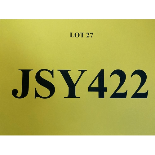 27 - JSY422  - a three digit  Jersey JSY registration mark (purchaser must be ordinarily resident in Jers...