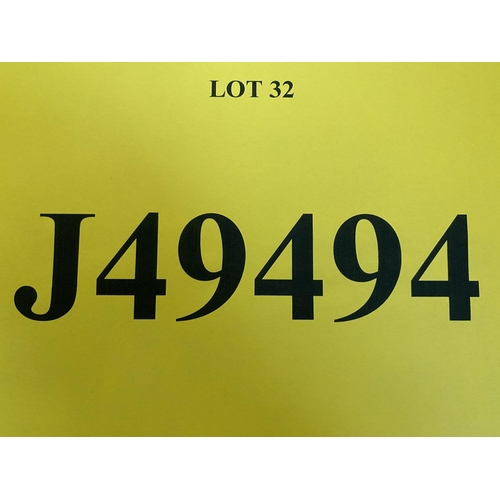 32 - J49494 - a five digit Jersey registration mark (purchaser must be ordinarily resident in Jersey C.I....