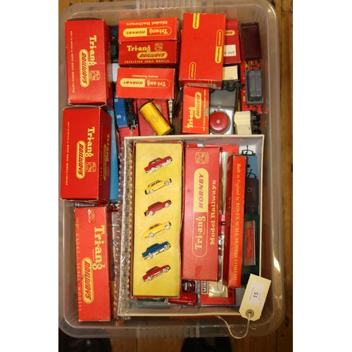 15 - A quantity of Tri-ang Railways Rolling-Stock, Line Side items and Accessories. Including Trestrol wa...