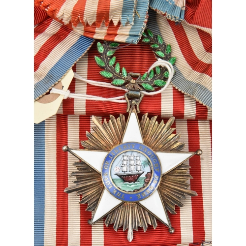 431 - Liberia: Order of African Redemption sash and sash badge, in gilt with 5 pointed white enamelled cro...