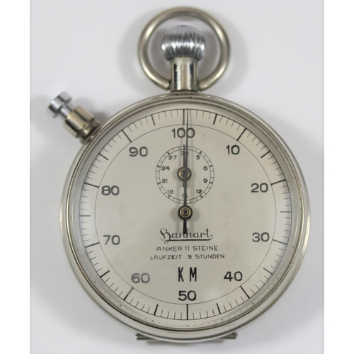 449 - Hanhart Kriegsmarine 1/100th minute stopwatch. Plated case, hinged back, 51mm diameter. Dial marked ...