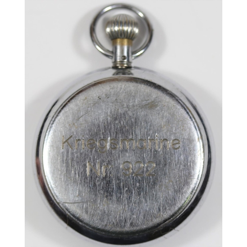 450 - Hanhart Kriegsmarine 30 second stopwatch. Plated case, 51mm in diameter, hinged back, good condition...