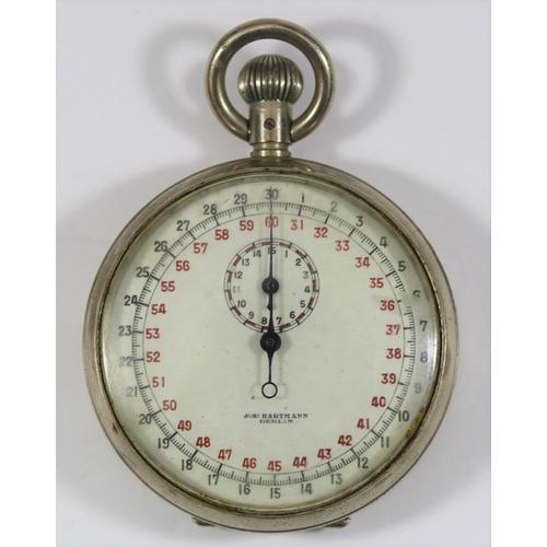 451 - Joh Hartmann 30 second stopwatch. Plated case, 51mm diameter. No markings on caseback. Dial marked w...