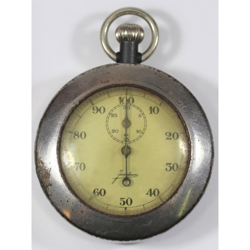 453 - Junghans 1/100th  minute stopwatch. Gunmetal case, snap back, excellent condition. No markings. Dial...